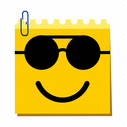 emoticon, happy, label, stickers, sunglasses icon