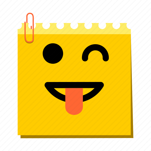 emoticon, happy, label, stickers, tongue icon