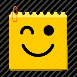 emoticon, happy, label, stickers, wink icon