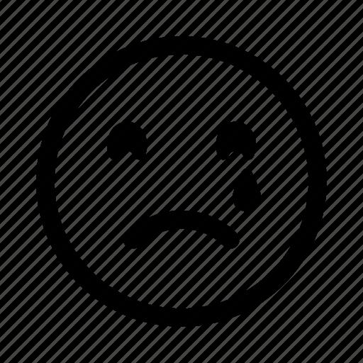 crying, emoticon, emotion, face, sad, smileys, tears icon