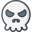 angry, emoji, emote, emoticon, emoticons, skull icon