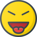 emoji, emote, emoticon, emoticons, evil, stretch, tongue icon