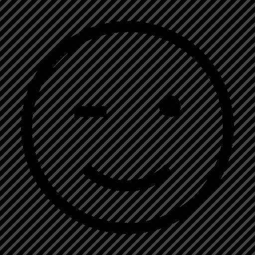 emoji, emoticon, face, like, wink icon