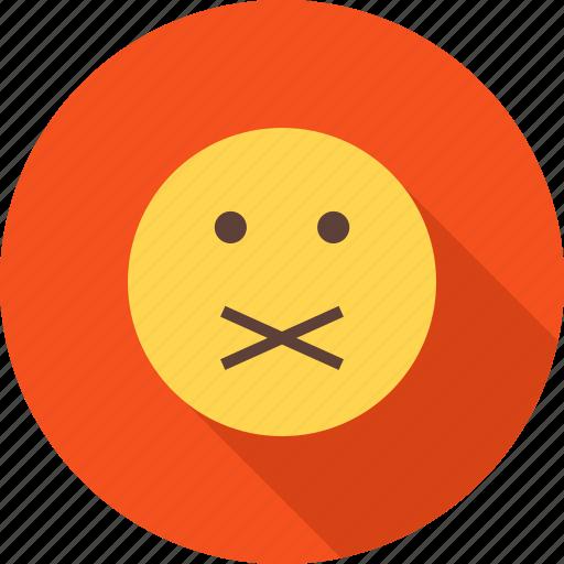 communication, quiet, round, sound, stop, talk, warning icon