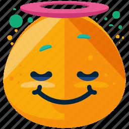 angel, emoji, emoticon, face, innocent, smiley icon