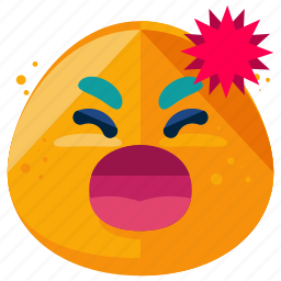 angry, emoji, emoticon, emotion, shout, smiley, yell icon
