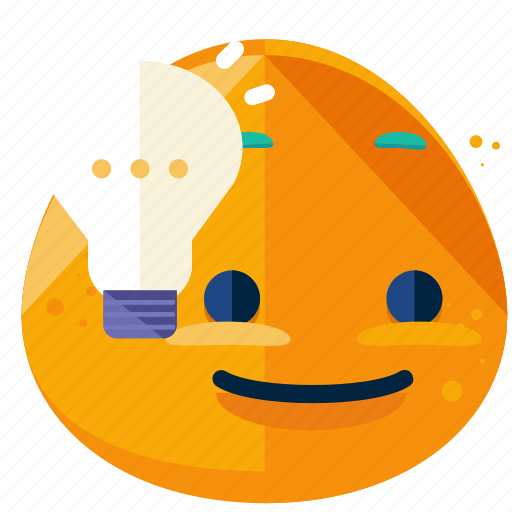 emoji, emoticon, face, idea, lightbulb, smiley icon