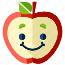 apple, emoji, emoticon, food, fruit, smiley icon
