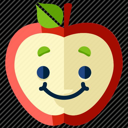apple, emoji, emoticon, food, fruit, smiley icon