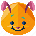 bunny, emoji, emoticon, emotion, face, rabbit, smiley