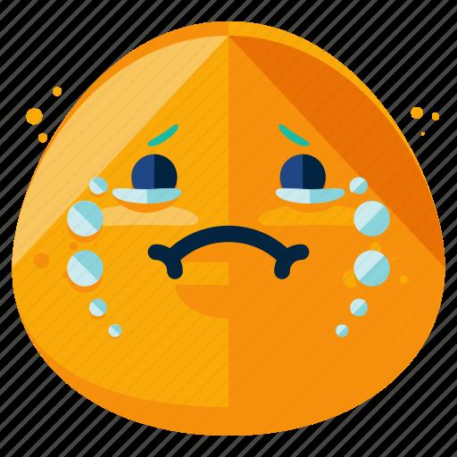 cry, emoticon, emotion, face, sad, smiley icon