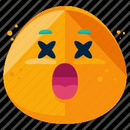 cross, deceased, emoji, emoticon, emotion, sick, smiley icon