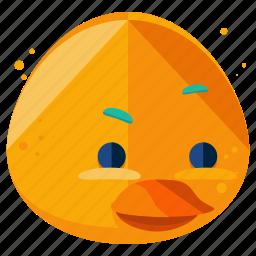 animal, duck, emoji, emoticon, face, smiley icon