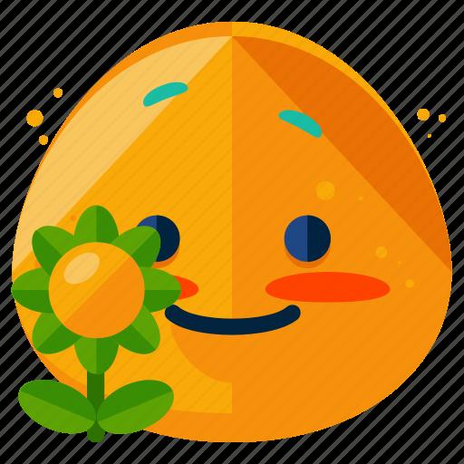 emoji, emoticon, emotion, flower, smile, smiley icon