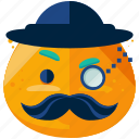 emoji, emoticon, face, gentleman, hat, smiley icon