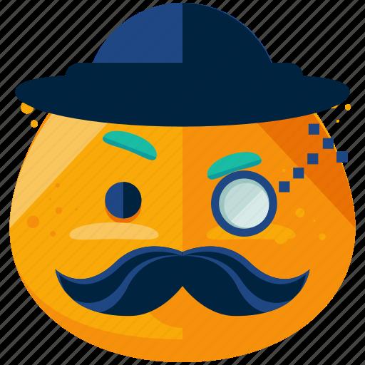 emoji, emoticon, face, gentleman, hat, smiley icon
