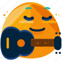 guitar, emoji, emoticon, emotion, face, music, smiley