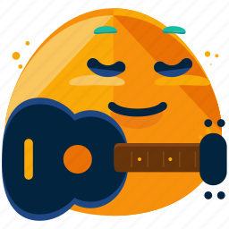 emoji, emoticon, emotion, face, guitar, music, smiley icon