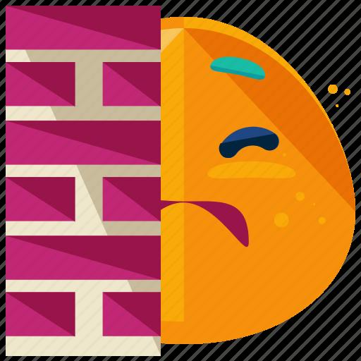 emoji, emoticon, face, hiding, scared, smiley, wall icon