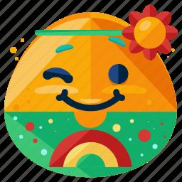 emoji, emoticon, face, hippie, peace, smiley icon