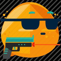 emoji, emoticon, emotion, gun, hitman, smiley, sunglasses icon