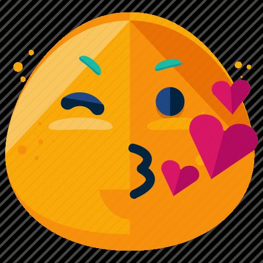 emoji, emoticon, emotion, heart, kisses, smiley, wink icon