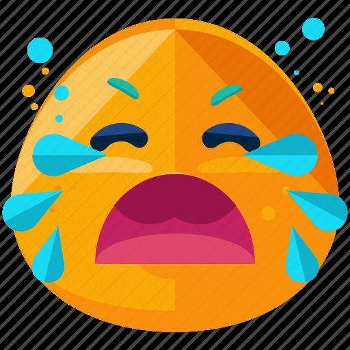 cry, emoji, emoticon, face, loud, smiley icon