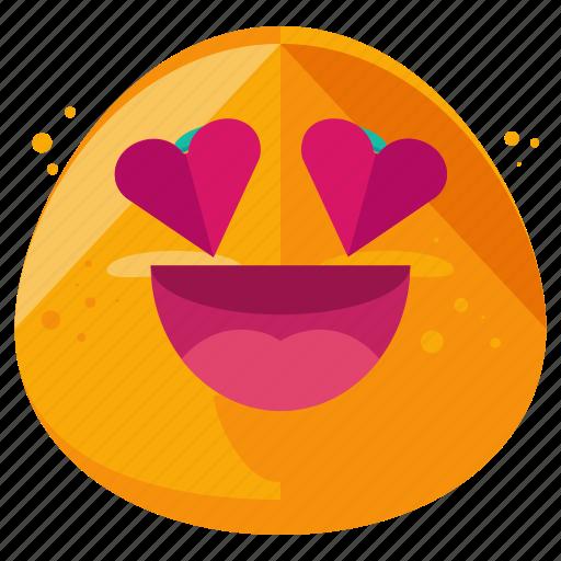 emoji, emoticon, emotion, face, heart, loving, smiley icon