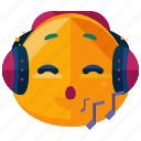 emoji, emoticon, face, headphones, music, smiley icon