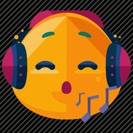 emoji, emoticon, face, headphones, music, smiley icon