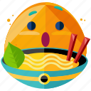 bowl, emoji, emoticon, food, noodles, smiley icon