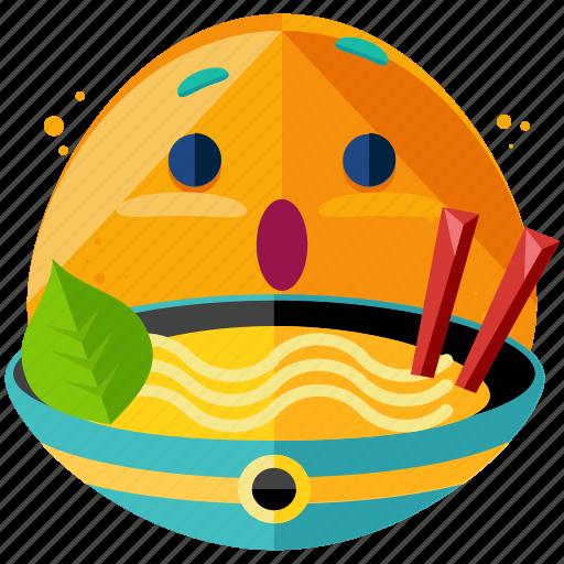 bowl, emoji, emoticon, food, noodles, smiley icon