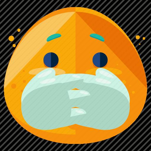 emoji, emoticon, face, not, secret, smiley, telling icon