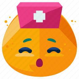 emoji, emoticon, face, medical, nurse, smiley icon