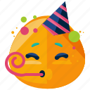 celebrate, emoji, emoticon, face, party, smiley