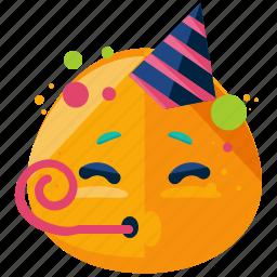 celebrate, emoji, emoticon, face, party, smiley icon