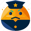 emoji, emoticon, face, officer, police, smiley icon