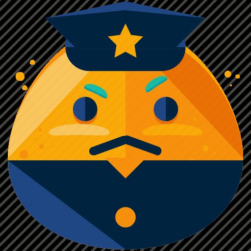 emoji, emoticon, face, officer, police, smiley icon