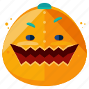 emoji, emoticon, face, halloween, monster, pumpkin, smiley