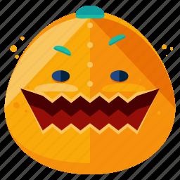 emoji, emoticon, face, halloween, monster, pumpkin, smiley icon