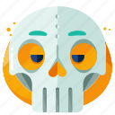 emoji, emoticon, mask, skull, smiley icon