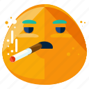 cigarette, emoji, emoticon, face, smiley, smoking