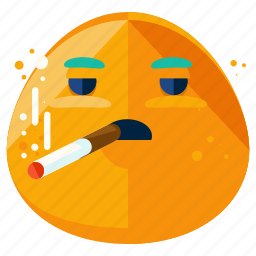 cigarette, emoji, emoticon, face, smiley, smoking icon