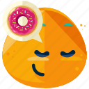 emoji, emoticon, face, hungry, smiley, snack, thinking