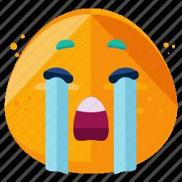 cry, emoji, emoticon, emotion, face, smiley, sobbing icon