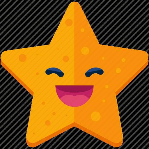 emoji, emoticon, face, grin, smile, smiley, star icon