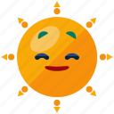 emoji, emoticon, heat, smiley, summer, sun icon