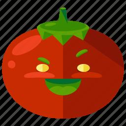 emoji, emoticon, face, smiley, tomato, vegetable icon