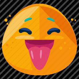 emoji, emoticon, grin, out, smile, smiley, tongue icon