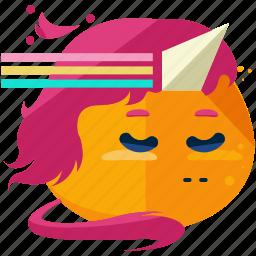 emoji, emoticon, magical, smiley, unicorn icon